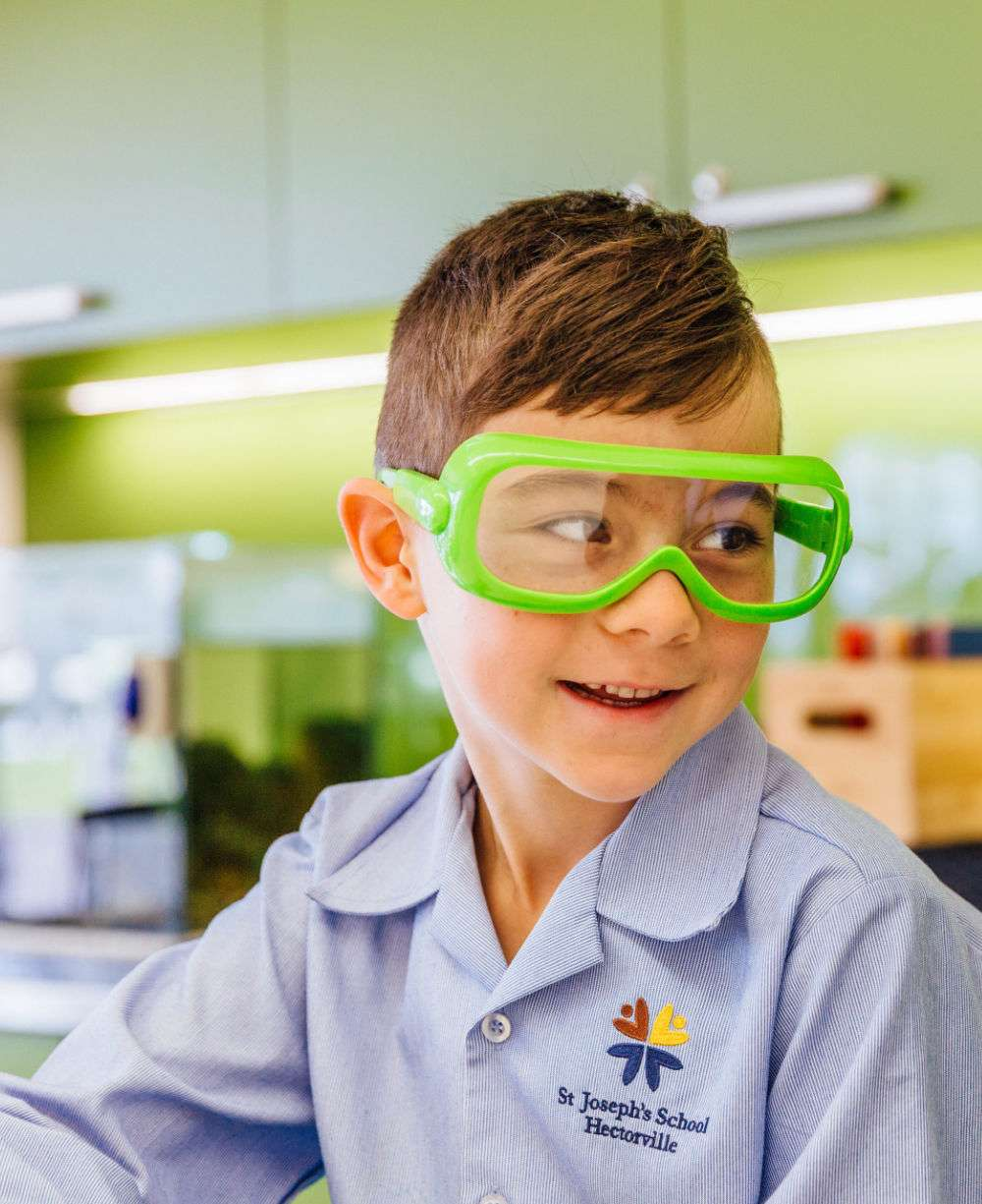 Science student with green glasses